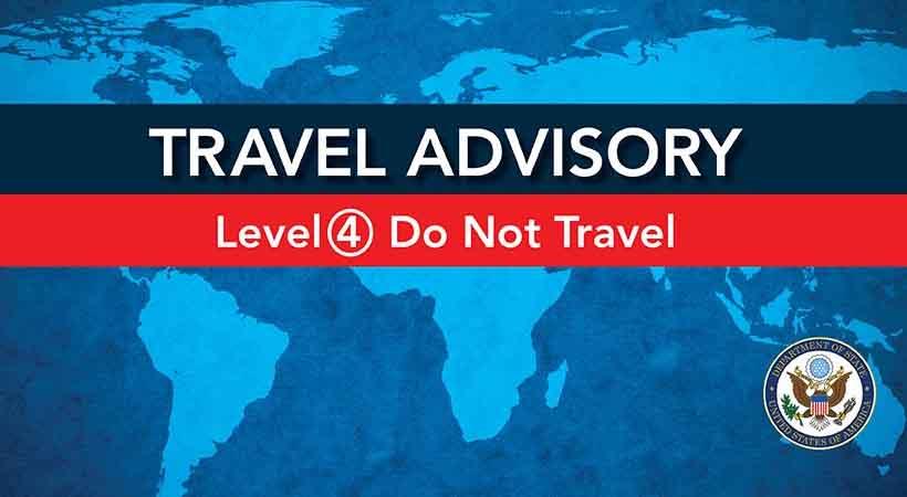 USA travel advisory Level 4