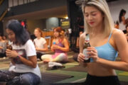 Beer Yoga : Yoga Fans at Phnom Penh return to Mat with a beer while purists raise eyebrows